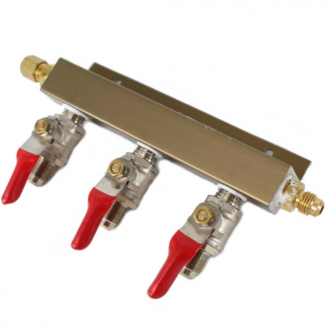 3 way CO2 Distribution Bar with Check Valves - MFL