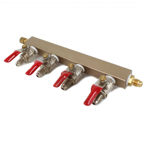 4-way CO2 Distribution Bar with Shut-Off Valves - MFL