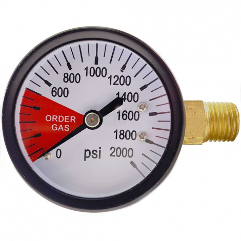CO2 Regulator Gauge - Tank Pressure - 0-2000 PSI - Right Hand Thread