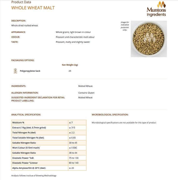 Muntons Wheat Malt Spec Sheet